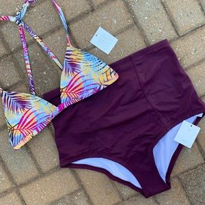 Urban Outfitters Purple Palm High-Waisted Bikini